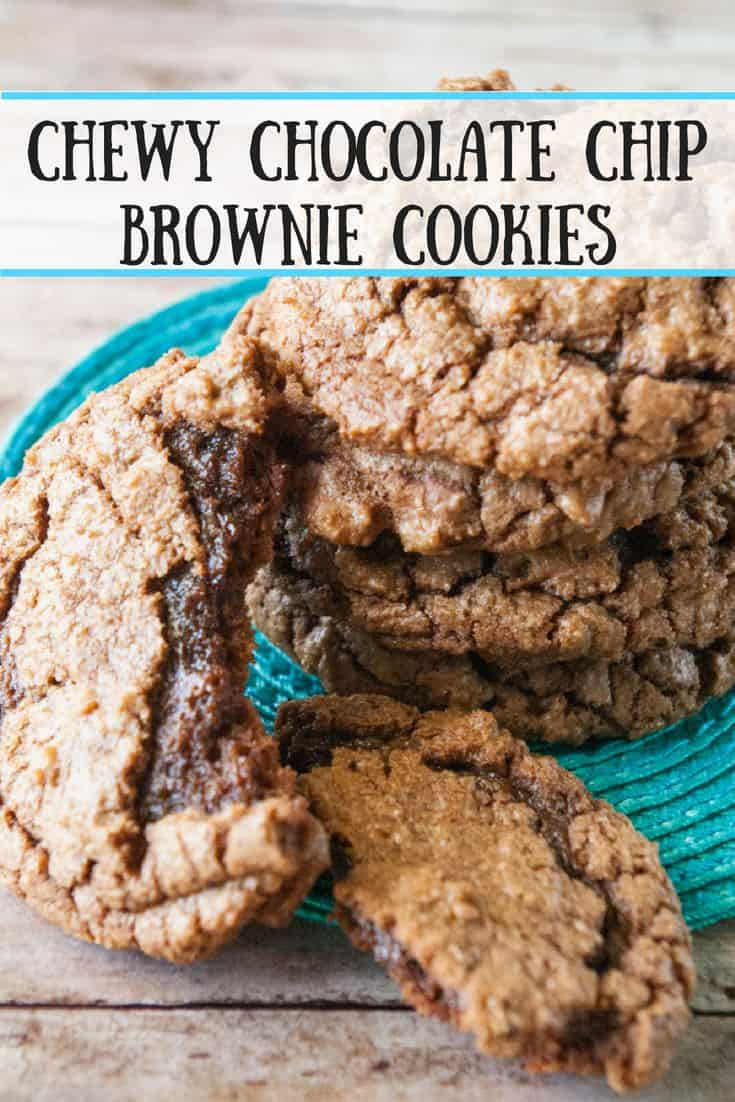 Chewy Chocolate Chip Brownie Cookies- The name, chewy chocolate chip brownie cookies, says it all.  These cookies are a chocoholics dream!