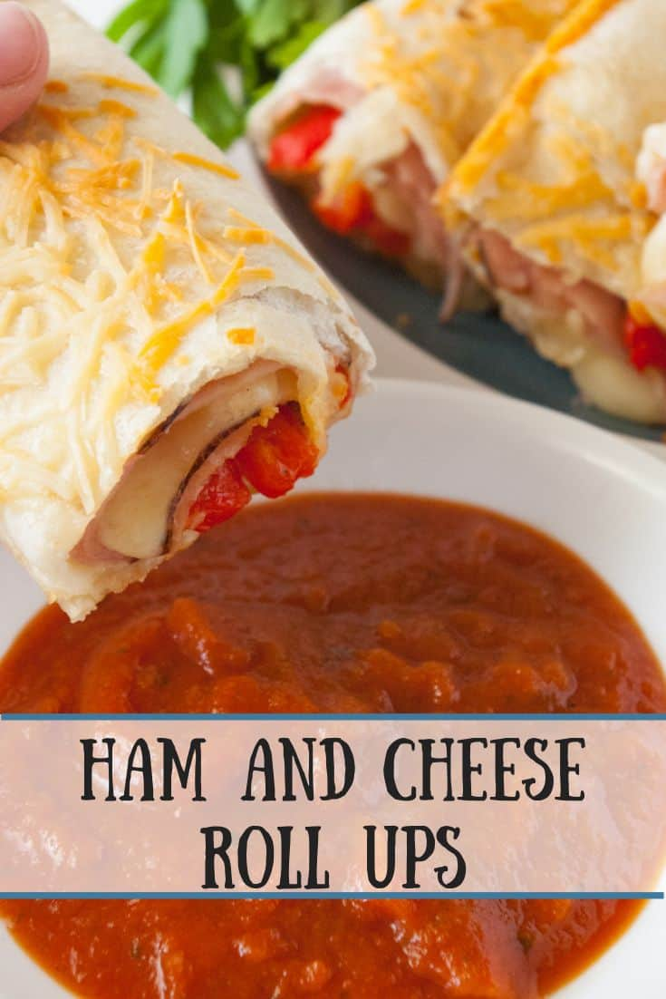 Ham and Cheese Roll Ups- Ham and cheese roll ups are quick, easy and require minimal cooking time. Plus roasted red peppers give them an awesome flavor boost!