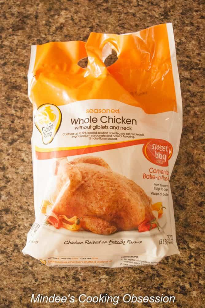 One 3 lb preseasoned whole chicken .