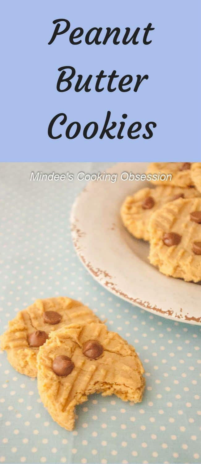 Peanut Butter Cookies- Soft, chewy, peanut butter cookies! Add a few chocolate chips the tops and you've got yourself the perfect peanut butter treat!