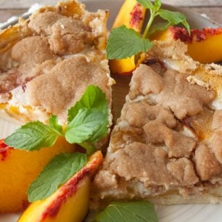 Streusel Topped Peach Pie facebook image.