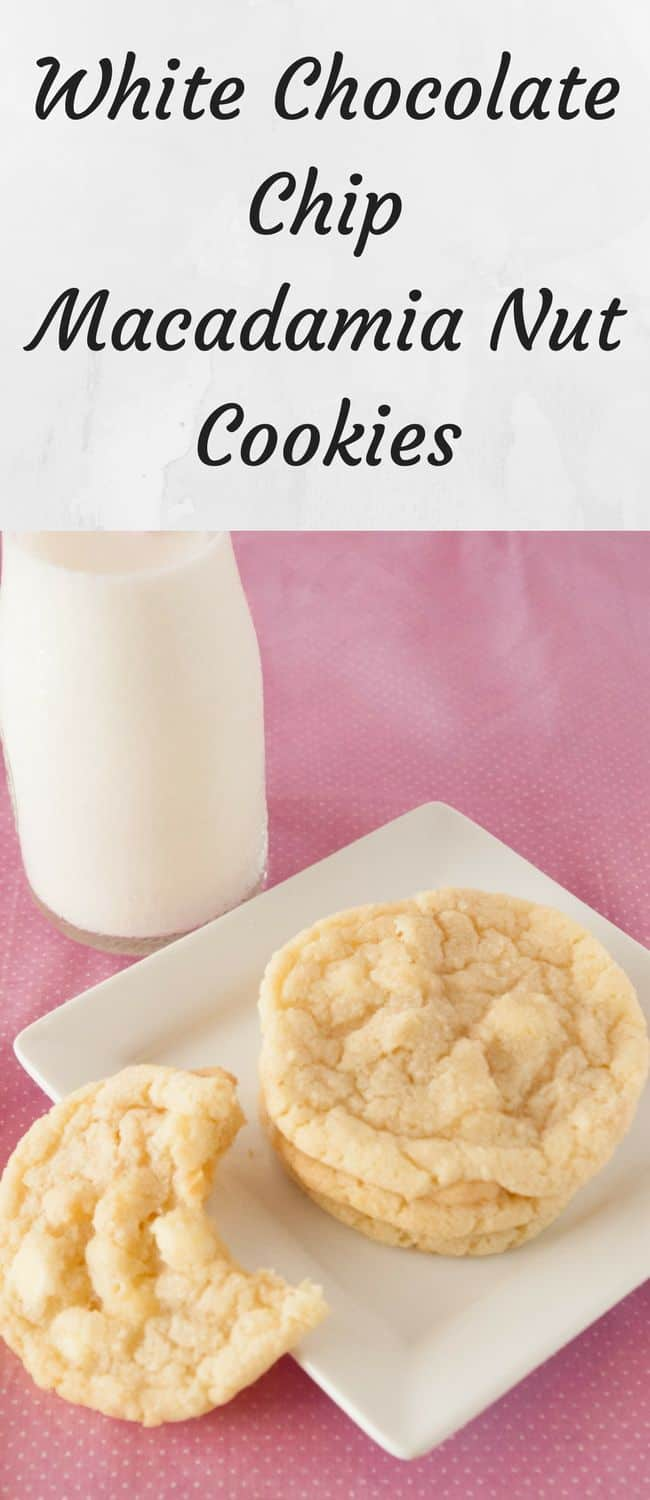 White Chocolate Chip Macadamia Cookies- White chocolate chip macadamia nut cookies are a personal favorite. They are a soft, chewy buttery cookie with white chocolate chips and crunchy macadamias.