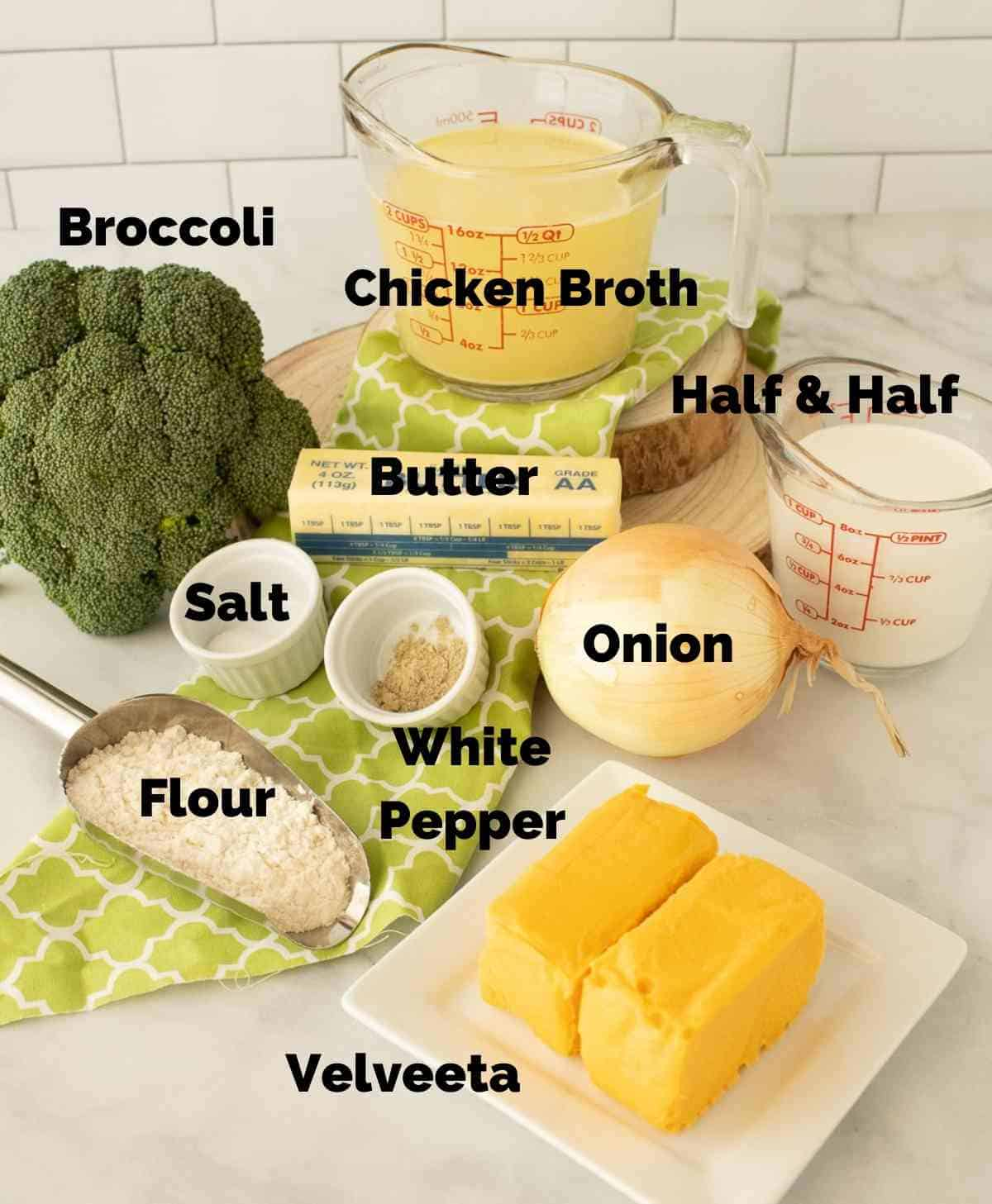 Ingredients for broccoli cheese soup.