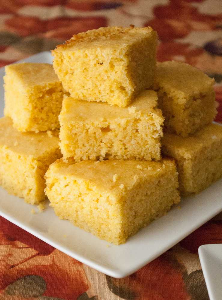 A stack of cornbread squares.