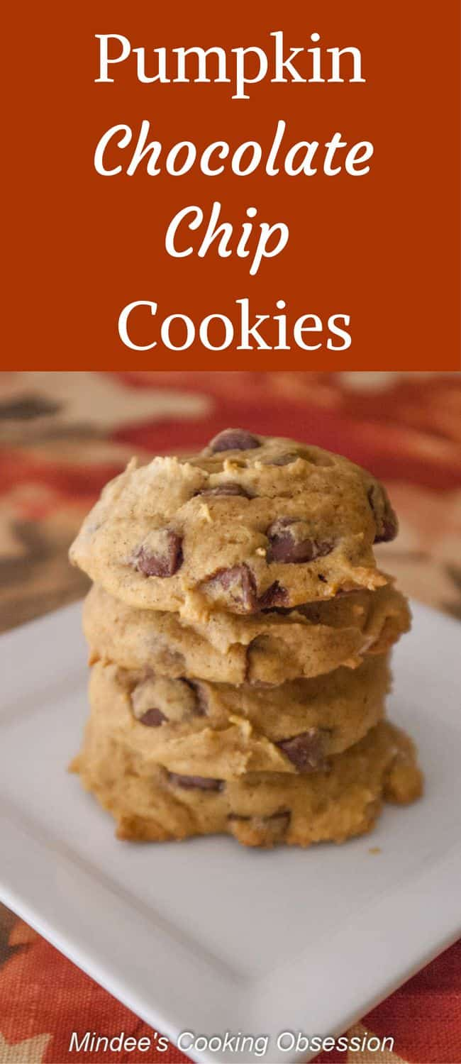 Pumpkin Chocolate Chip Cookies-  Pumpkin cookies are moist with all the flavors of fall and chock full of chocolate chips!