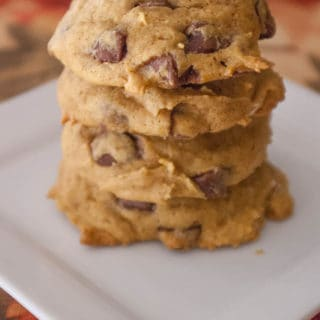 Pumpkin Chocolate Chip Cookies-These pumpkin cookies are moist with all the flavors of fall and chock full of chocolate chips! They're sure to put a smile on your face this season!