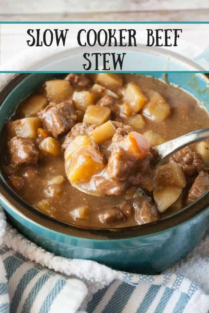 Slow Cooker Beef Stew pinnable image.