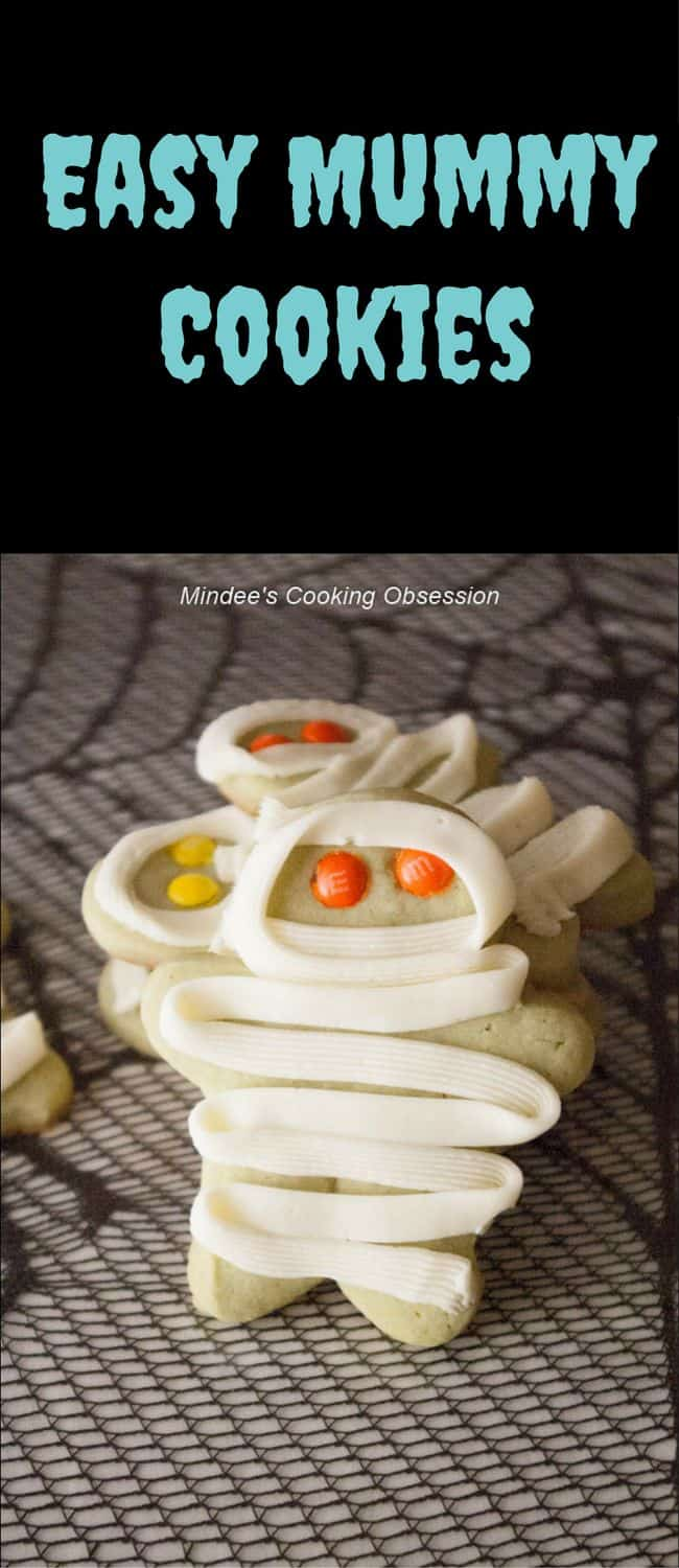 Easy Mummy Cookies-  cookies with M'n'M eyes and a frosting wrap make up these easy mummy cookies!  Kids love the spooky fun and you'll love how simple they are!