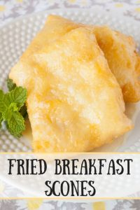 Fried Breakfast Scones pinnable image.