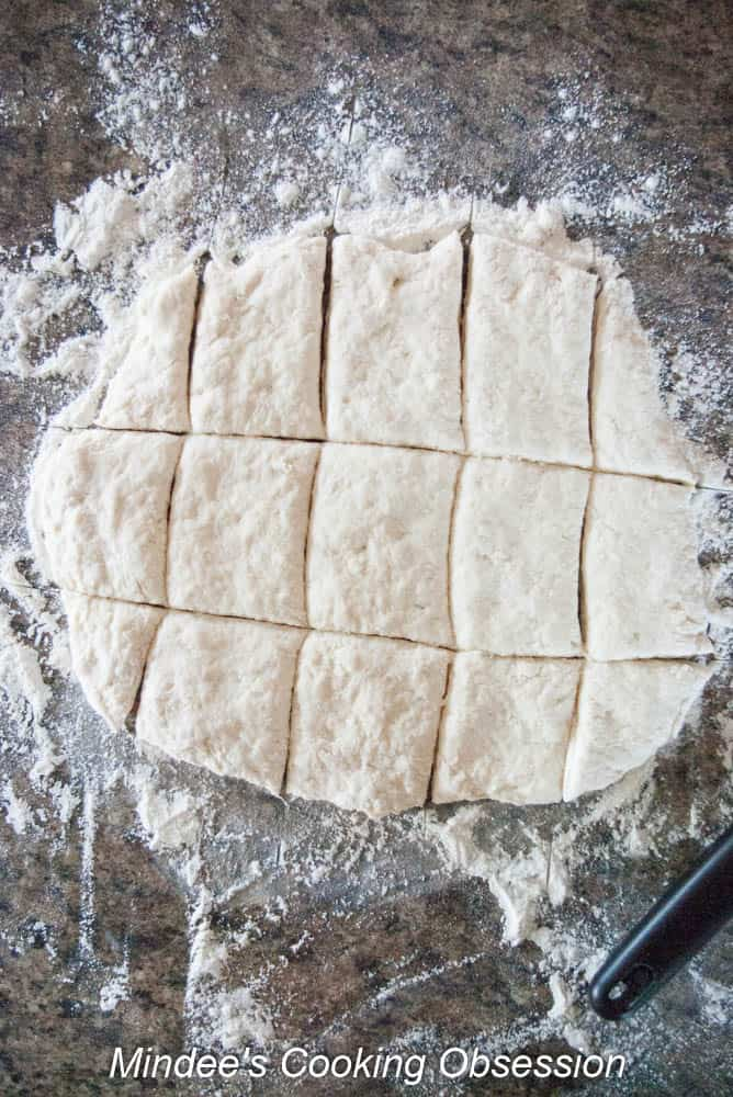 Scone dough cut into rectangles.