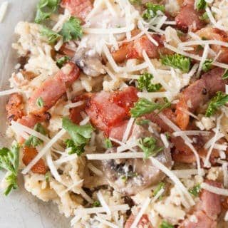 Italian Orzo Bacon Mushroom Bake- Italian orzo bacon mushroom bake is a delicious blend of an italian cheese sauce, orzo, canadian bacon, bacon and mushrooms.