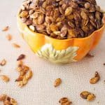 Roasted Pumpkin Seeds Wondering what to do with all those pumpkin seeds left over from carving pumpkins? Try these roasted pumpkin seeds! Such a tasty snack!