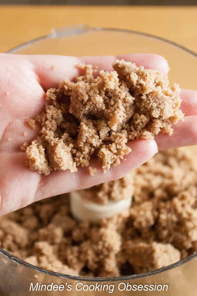 The Brown Sugar Crumb Topped Coffee Cake crumb topping in a food processor.
