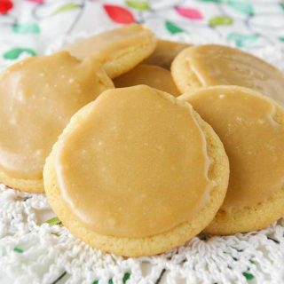 Facebook image for caramel frosted butter cookies.