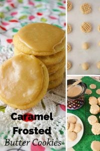 Pinnable image 3 for caramel frosted butter cookies.