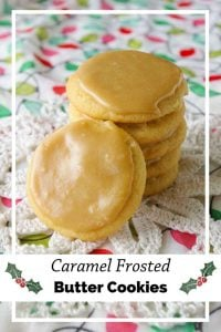 Pinnable image 5 for caramel frosted butter cookies.