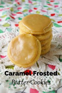 Pinnable image 6 for caramel frosted butter cookies.