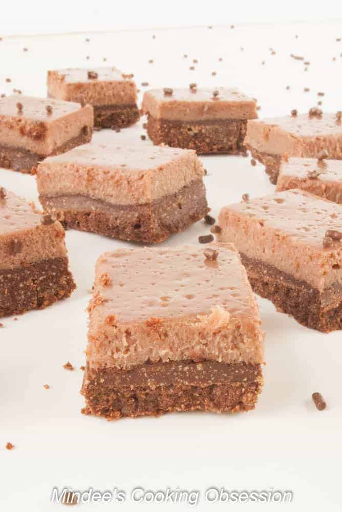 Double Chocolate Truffle Cheesecake Squares Double chocolate truffle cheesecake squares have a deep chocolatey crust and a smooth, truffle-like cheesecake top chocolate lovers will love!