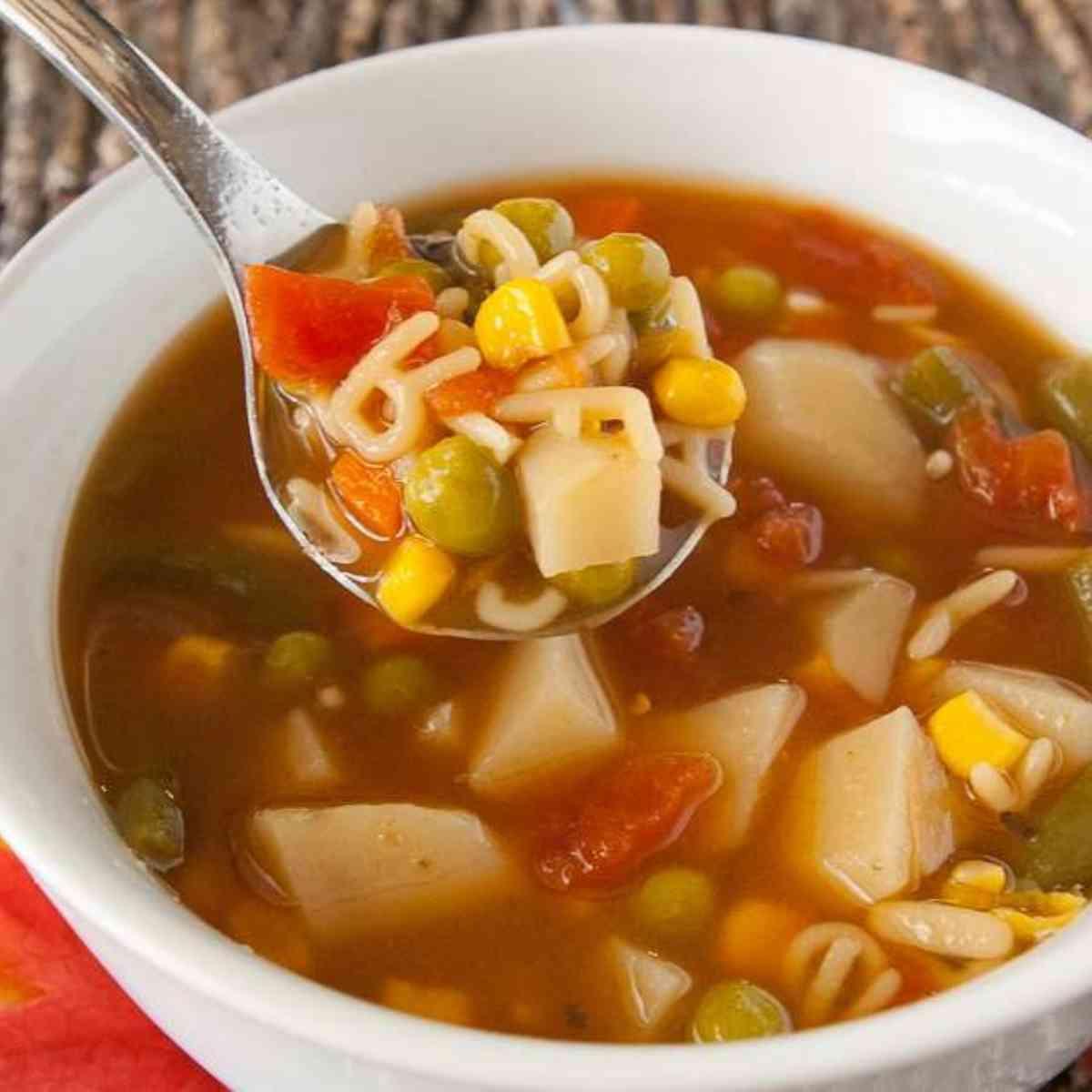 Bowl of alphabet soup.