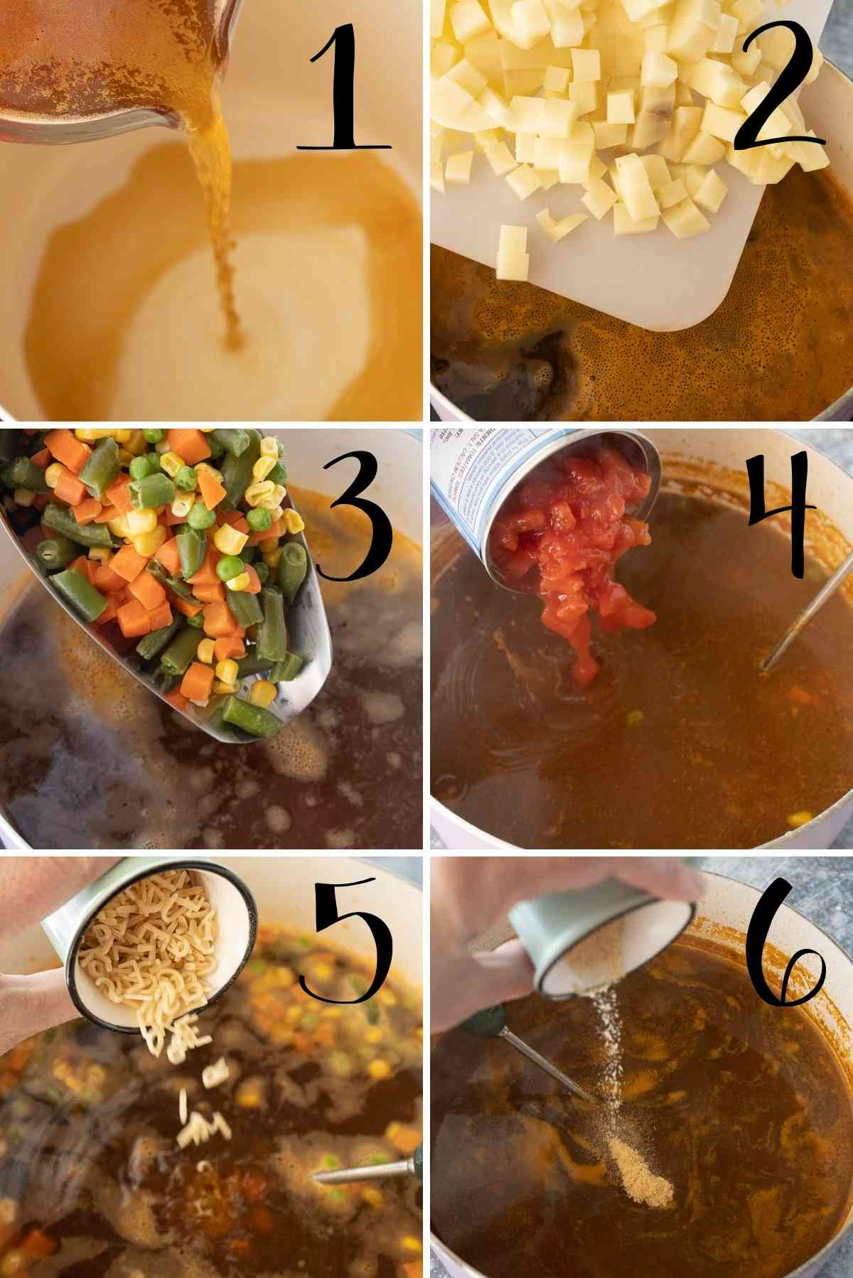 Addition of ingredients in steps for alphabet soup!