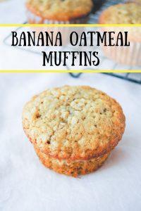 Pinnable image 1 for banana oatmeal muffins.