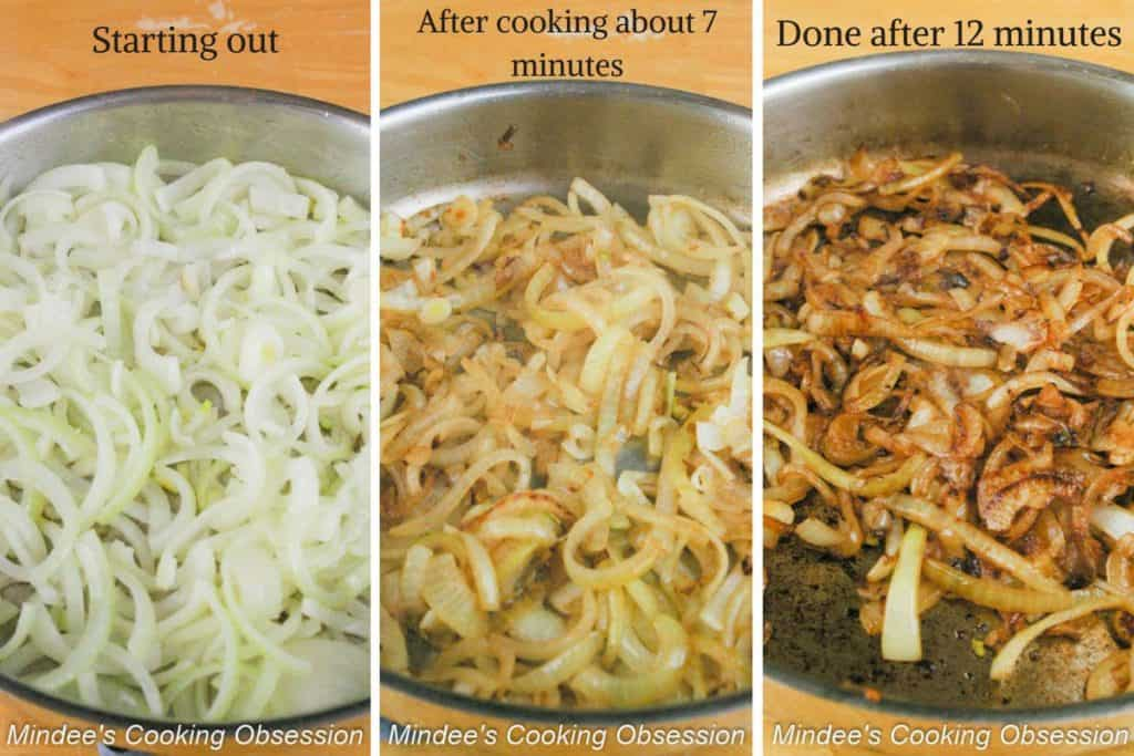 Progressive pictures of making caramelized onions.