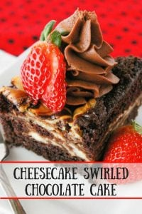 Cheesecake Swirled Chocolate Cake pinnable image.