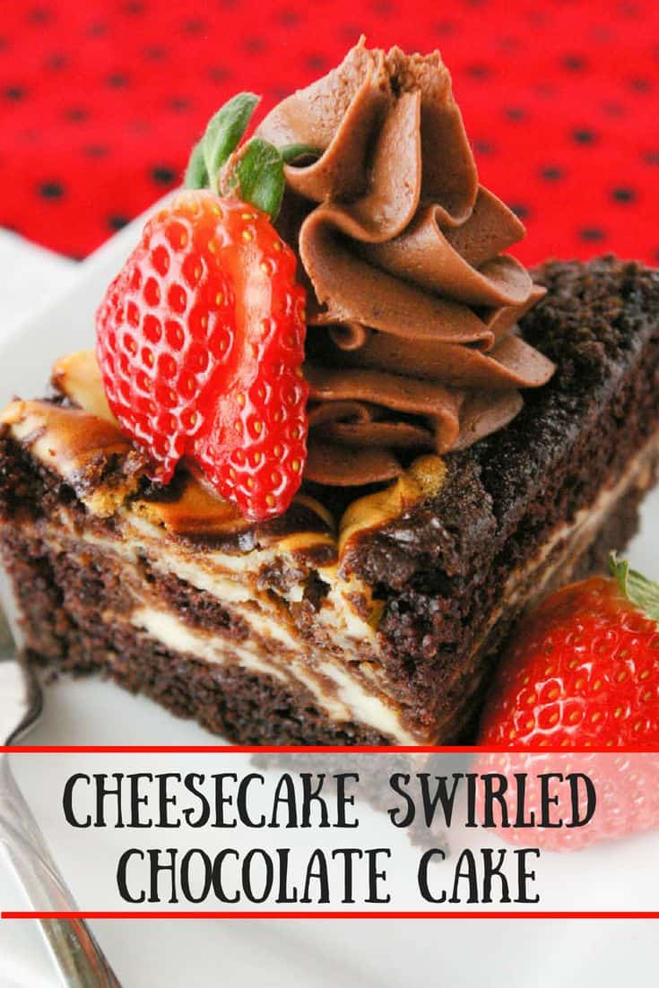 Cheesecake swirled chocolate cake is as easy as it is delicious. You'll love this dense, moist cake with swirls of cheesecake throughout!