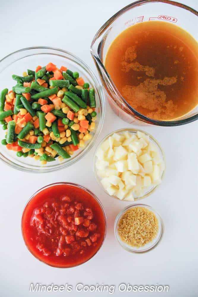 Easy Alphabet Soup ingredients.