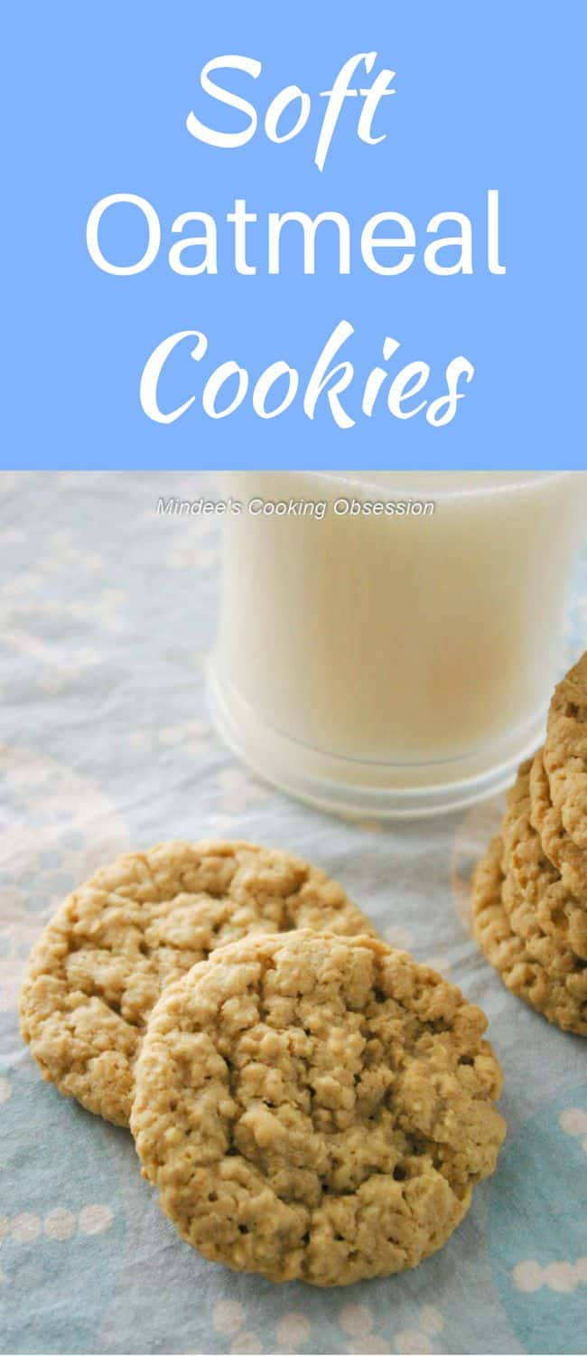 Soft Oatmeal Cookies- Tried and true soft, chewy oatmeal cookies are comfort food for anytime of year!  They smell delicious while cooking and taste twice as good!