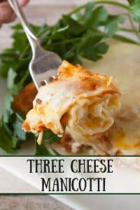 Three Cheese Manicotti pinnable image.