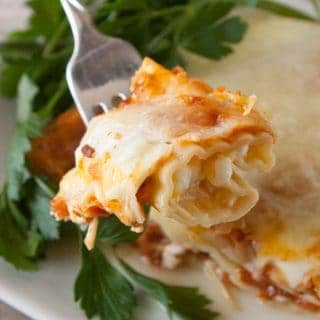 Three Cheese Manicotti ready to serve.