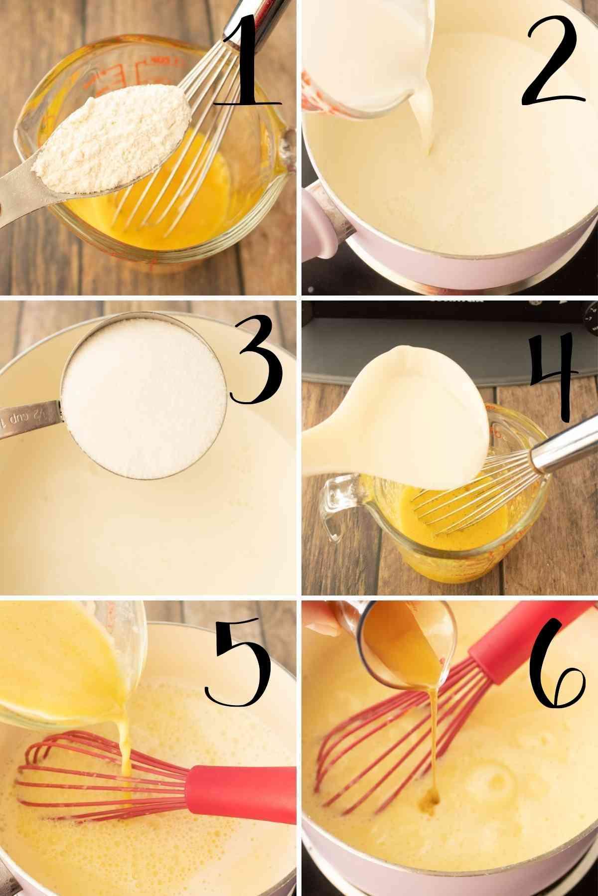 Making of the vanilla sauce.