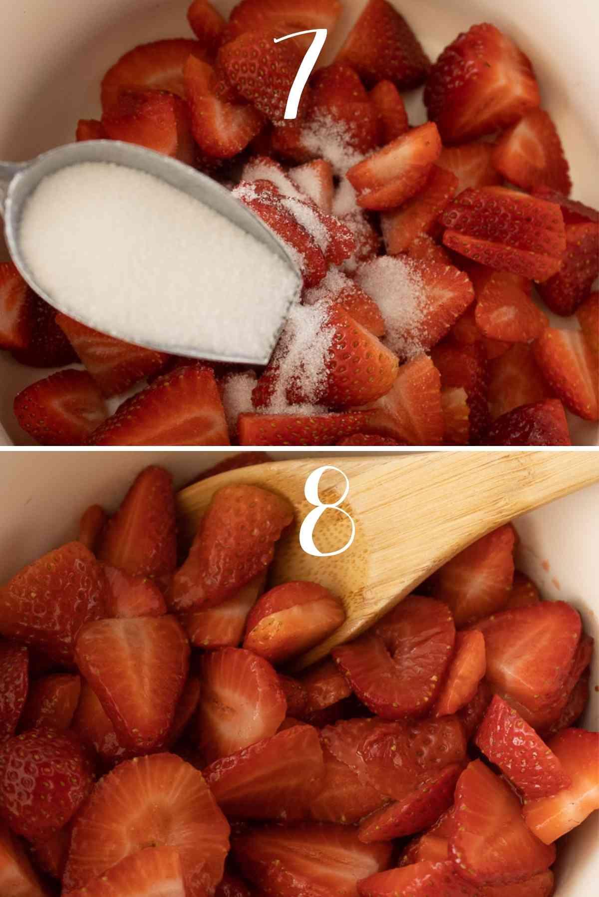 Preparing of the strawberries.
