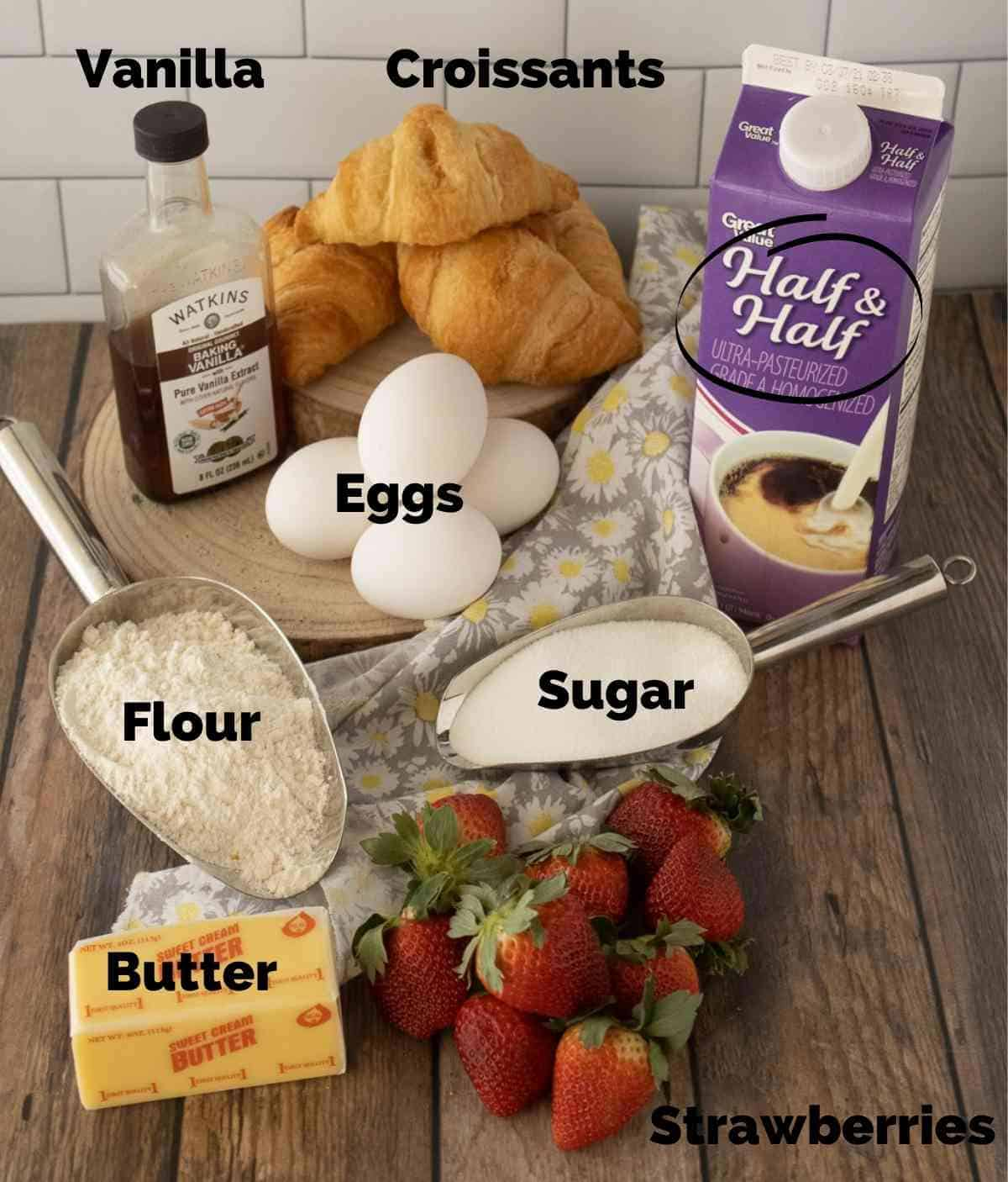 Ingredients for strawberry croissant french toast.
