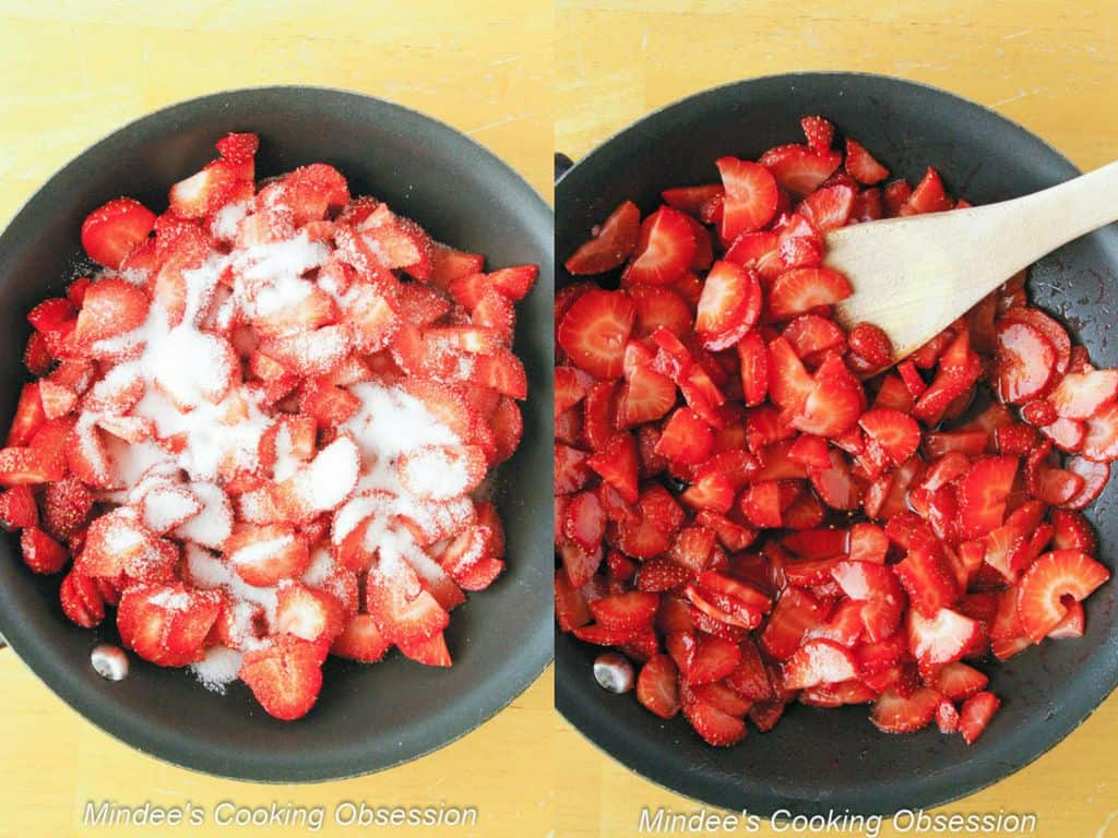 Collage of strawberries before and after simmering.