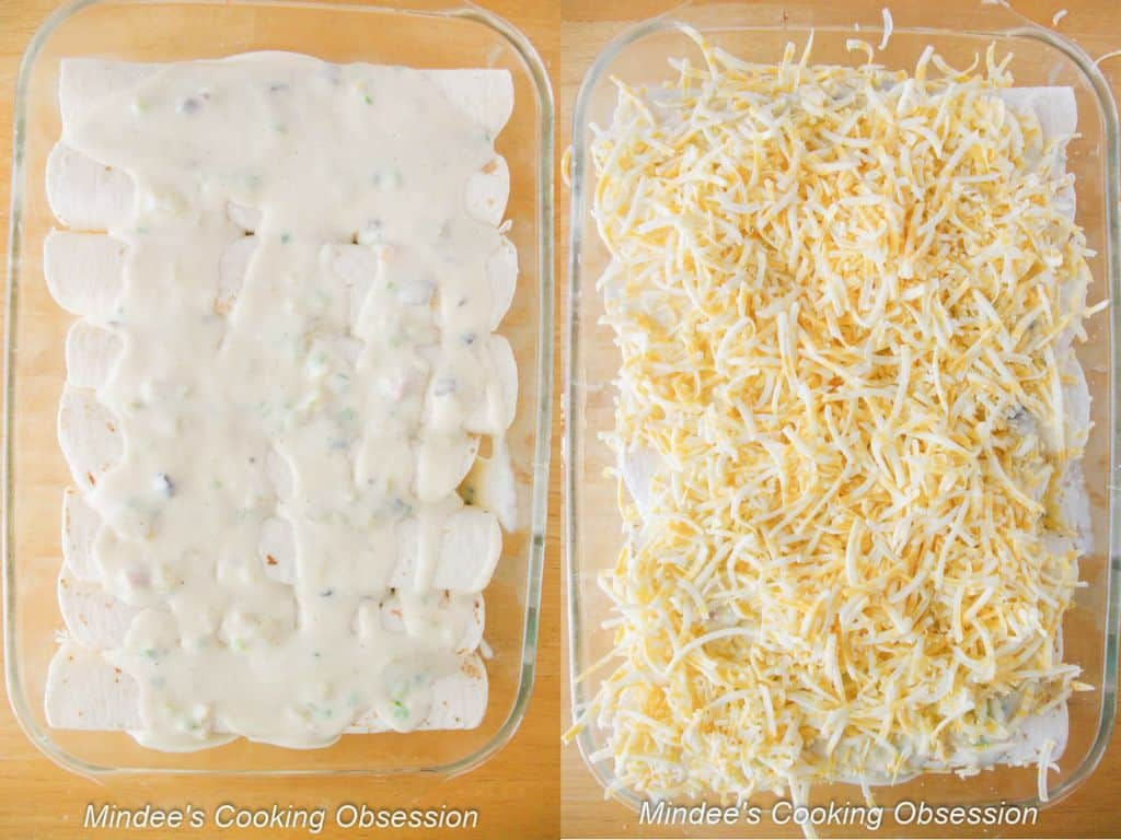 Cheesy Chicken Enchiladas remaining sauce spread across the tops and sprinkled with cheese.
