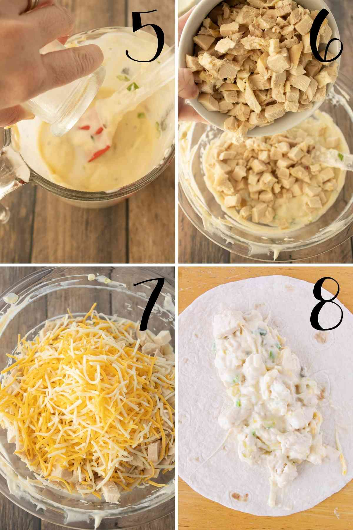 Mix and distribute the chicken and cheese filling on the tortillas.