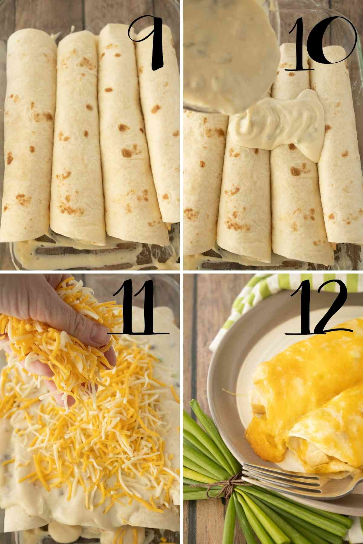 Roll up, place seam side down, top with sauce and cheese.  Bake!