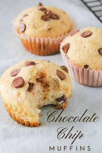 Pinnable image 1 for chocolate chip muffins.
