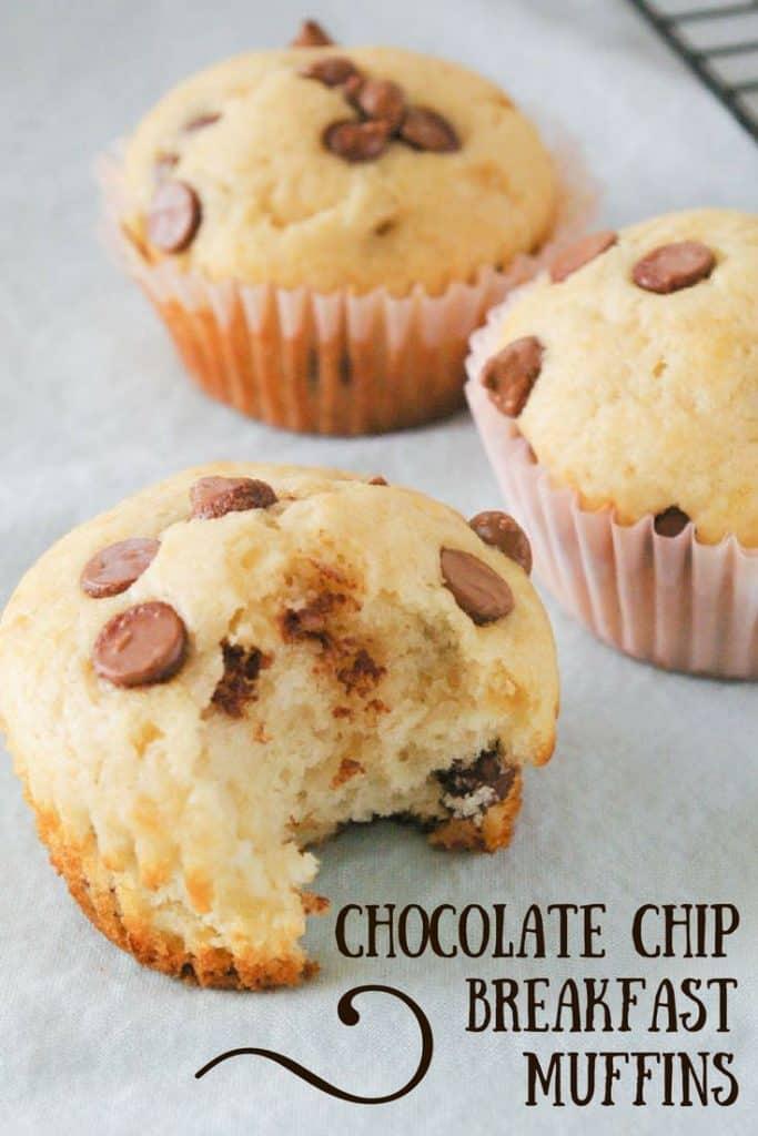 Chocolate Chip Breakfast Muffins pinnable image.
