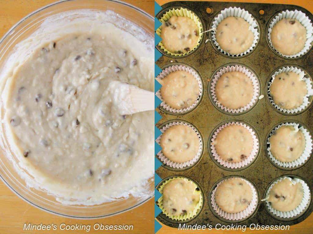 Chocolate Chip Breakfast Muffin batter scooped into muffin tins.