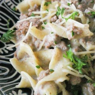 Ground Beef Stroganoff Ground beef stroganoff is an easy weeknight meal. Make the creamy mushroom sauce ahead of time, then just reheat and add the beef and pasta!