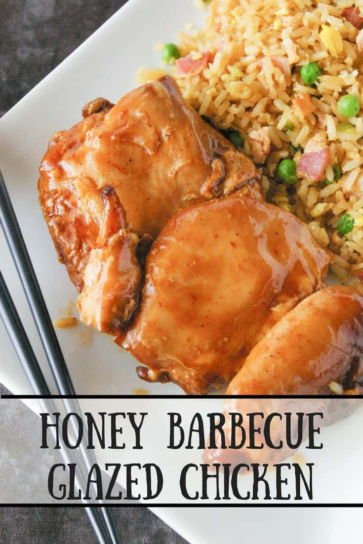 Honey Barbecue Glazed Chicken- Cook this honey barbecue glazed chicken in a slow cooker and then finish it under the broiler for a moist chicken dinner that will knock your socks off!
