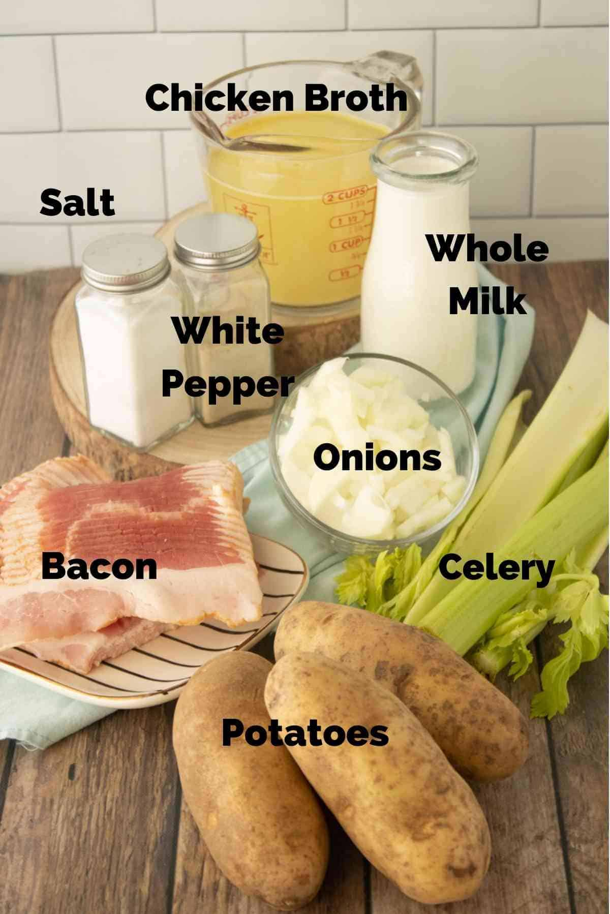 Ingredients needed for this easy potato soup recipe.
