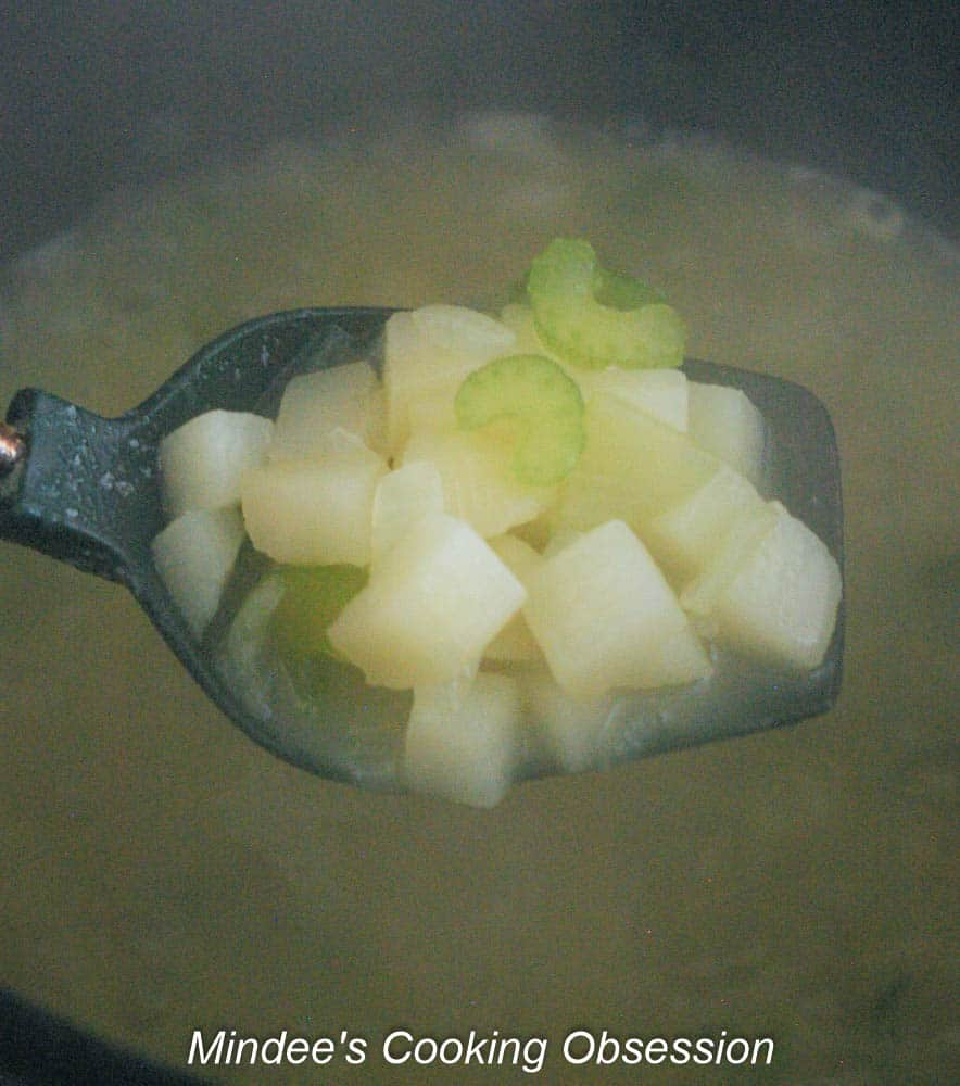 Small cubed potatoes boiled until tender.