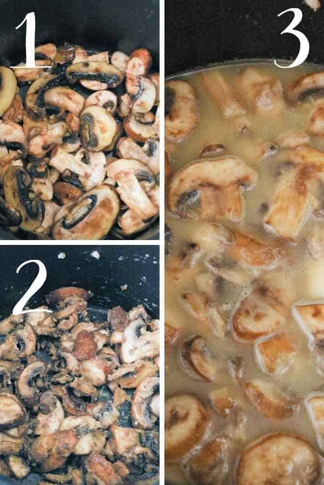 Steps for preparing the mushrooms.