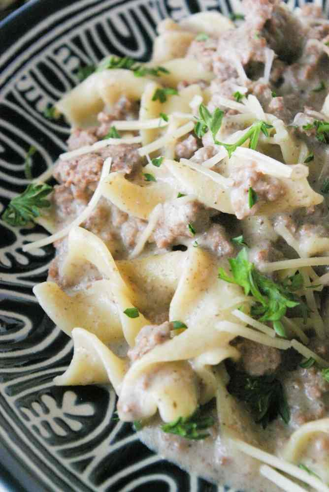 A plate of stroganoff.