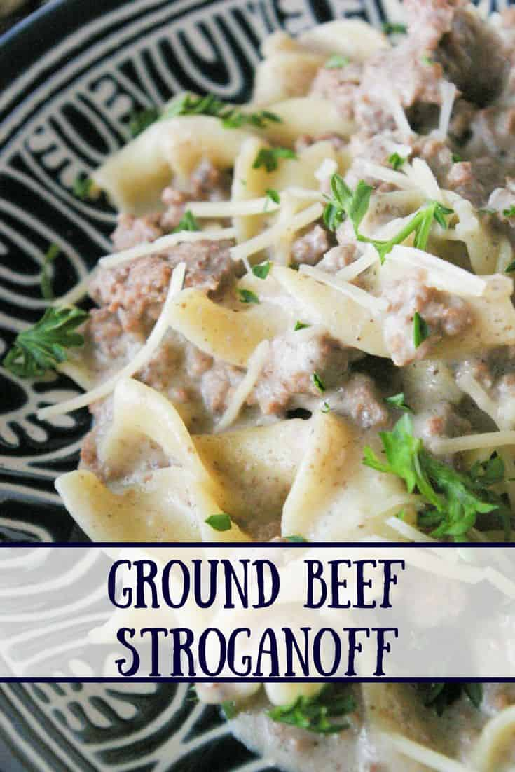 Ground Beef Stroganoff- Ground beef stroganoff is an easy weeknight meal.  Make the creamy mushroom sauce ahead of time, then just reheat and add the beef and pasta!