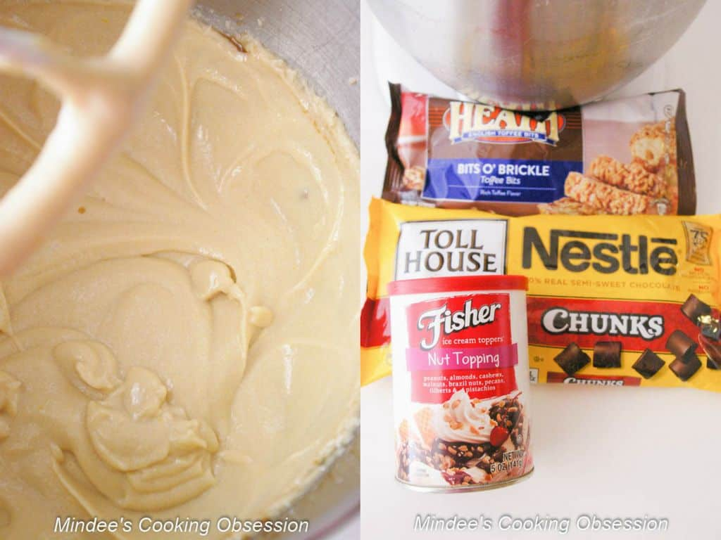 Grown Up Chocolate Chunk Cookies batter and mix ins.